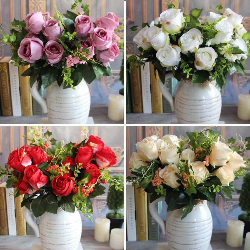 New Charming Beautiful Pretty Artificial Fake Spring Rose Flowers Floral Wedding Home Hotel Desk Decor