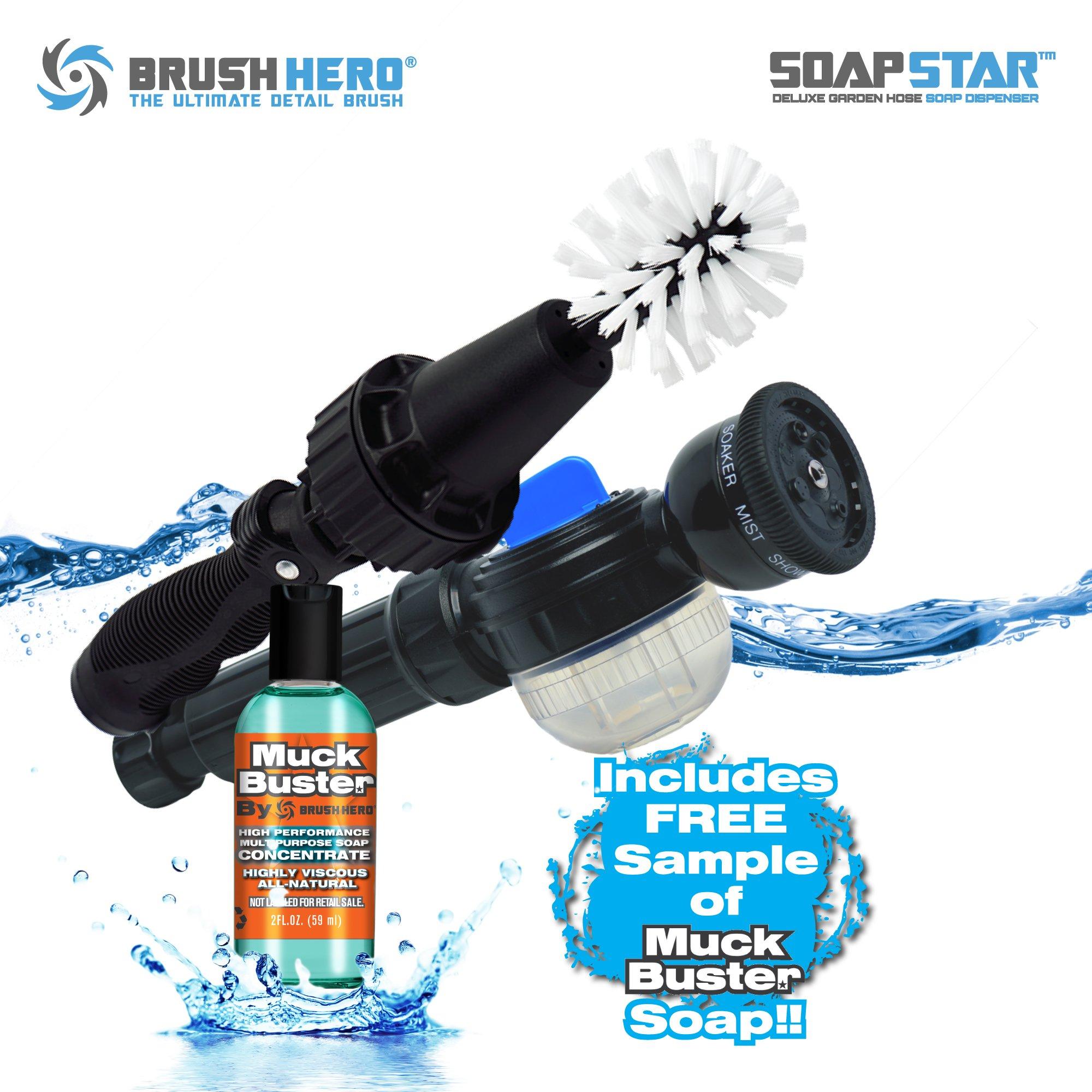 Brush Hero The Original Wheel Brush, Premium Water-Powered Turbine for Rims, Engines, Bikes, Equipment, Furniture and More (Starter)