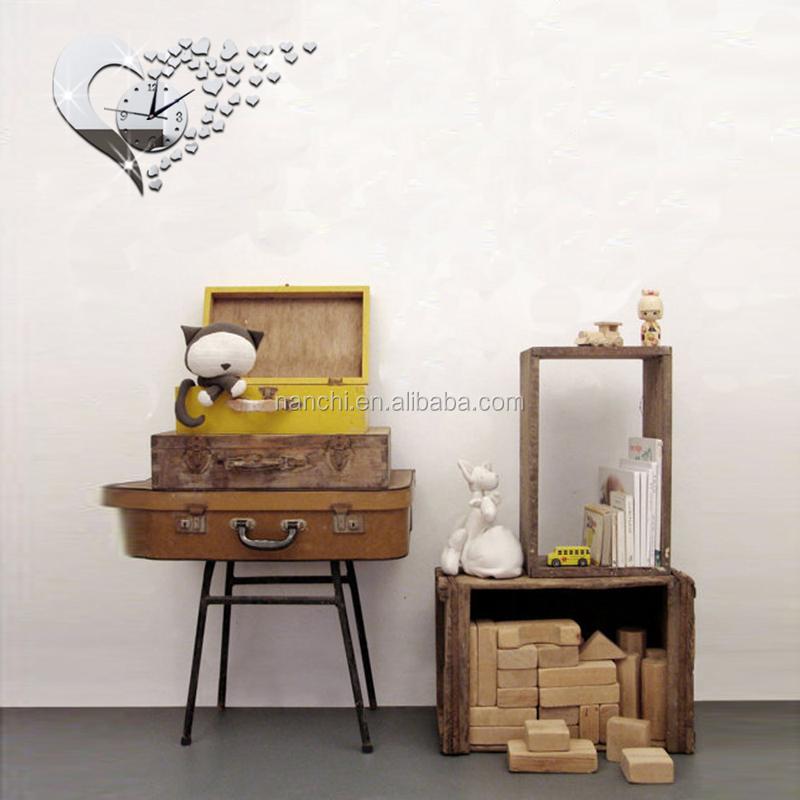 Creatieve hart liefde spiegel DIY Wandklok ontwerp voor girs of ...