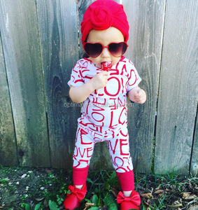 Europe Kids jumpsuit baby clothes kids short sleeve red LOVE romper for Volentine's day