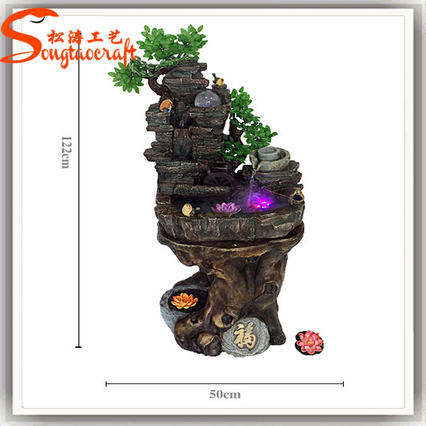 2015 Guangzhou Wholesale Indoor Mini Water Pump Fiberglass Fish Pond  Artificial Waterfall Fountain Decoration For Home