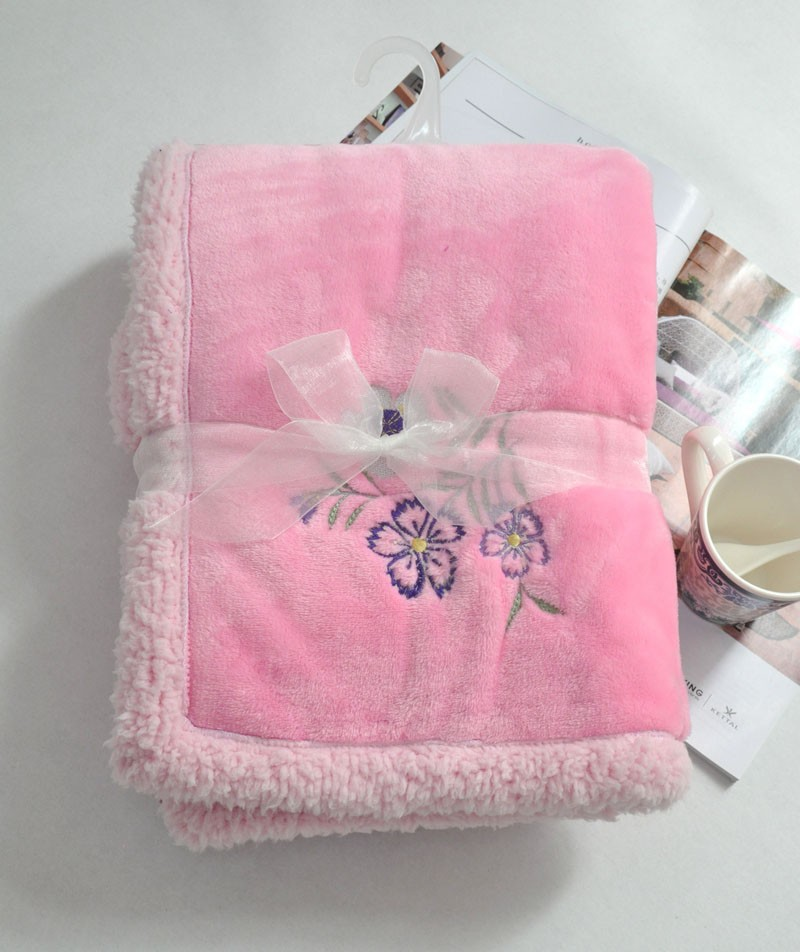 GCEBKT118 coral fleece with sherpa faux fur throw blanket double ply wholesale kids fleece blankets