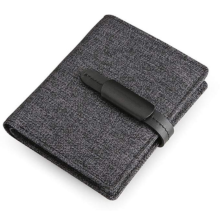 Packable bifold card holder cash pocket wallet with ID window