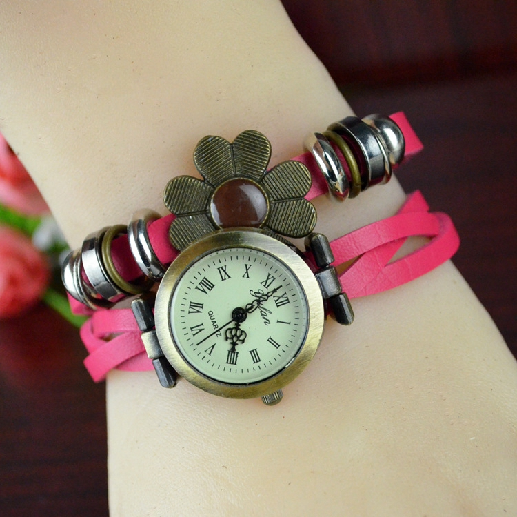 Diy Leather Wrap Strap Lady Watch Bracelet