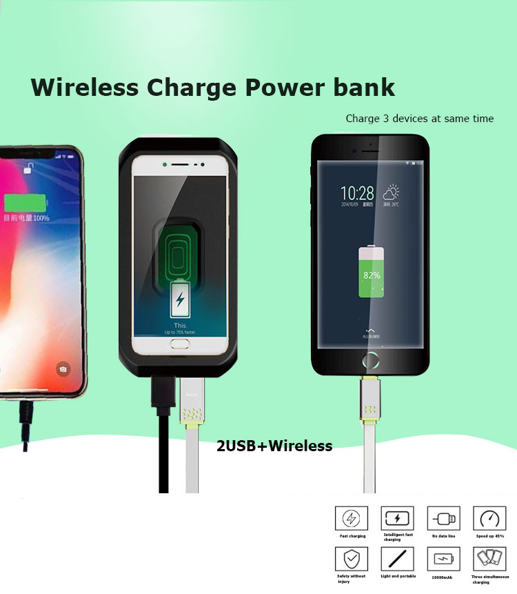 QI Power Bank,10000mAh Wireless Charger with 2 USB Ports Fast Charging_01.jpg