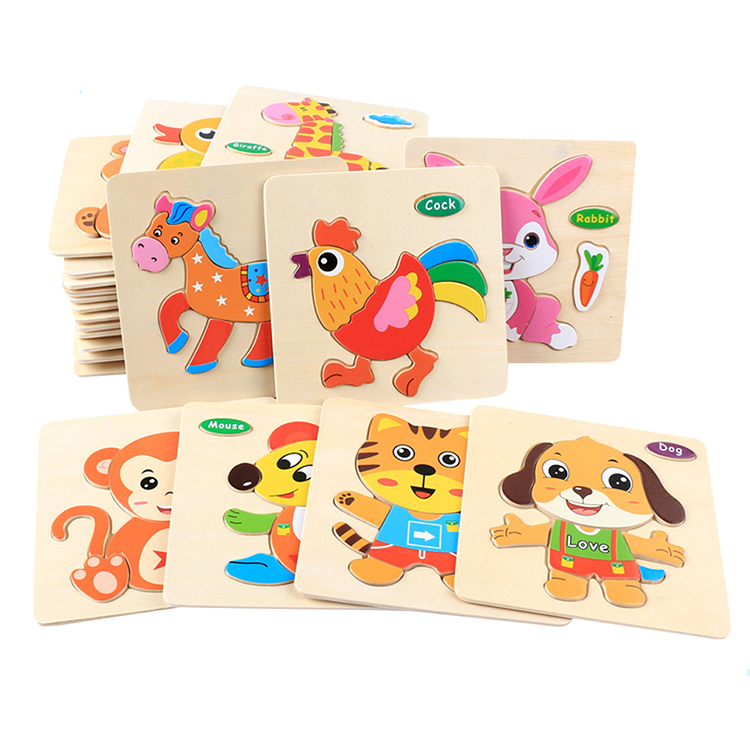 Baby Early Educational Toy Cartoon Animal 3D Wooden DIY Jigsaw Puzzle for Kids