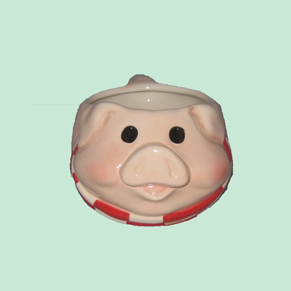 Hot New Product Cute Pink Pig Head Pottery Tiki Cup