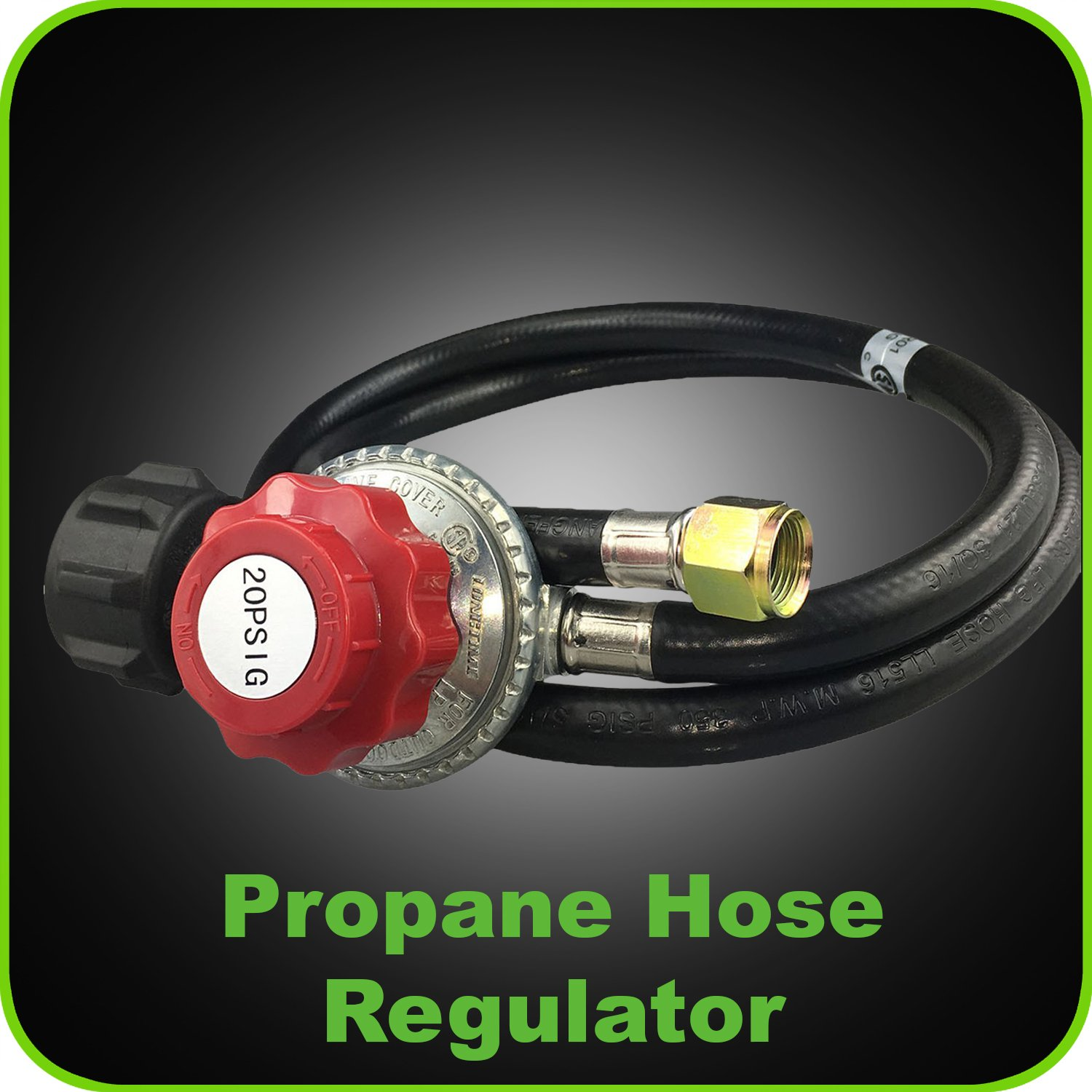 Propane Regulator Adjustable 4 Foot 0-20 PSI - Gas Grill replacement Hose for Fire Pit and LP Gas Grill - Outdoor and Indoor Cooking