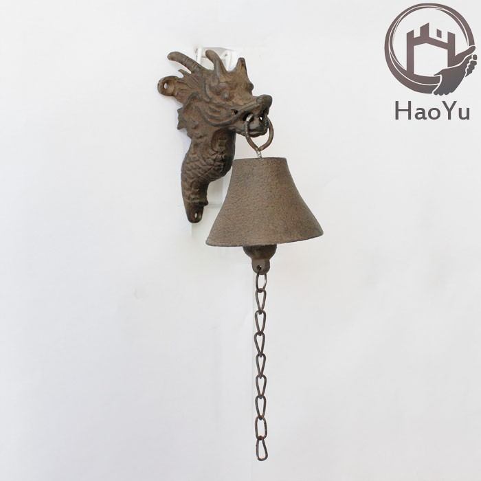 dragon shaped cast iron hanging door bell for garden decoration