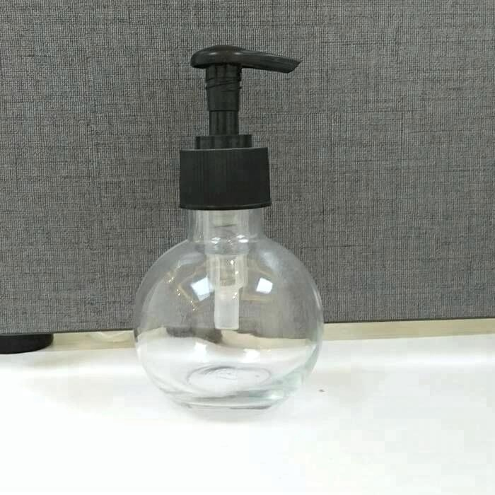 Wholesale ball shape 120ml mason jar clear glass e liquid soap dispenser bottle with pump lid