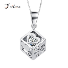 wholesale 925 sterling necklase silver square heart locket pendant with cz stone P20193