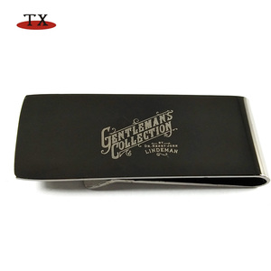 luxury black metal mens stainless steel money clip hardware with custom logo in gift box