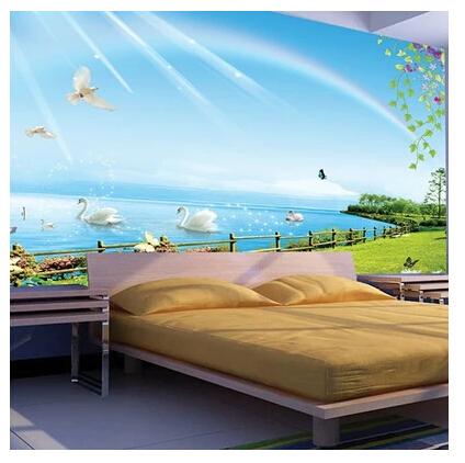 sch nen schwan schwimmen wandbild tapete schlafzimmer sofa. Black Bedroom Furniture Sets. Home Design Ideas
