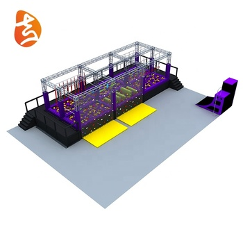 Eco-friendly amusement park adult durable inside/outside safety ninja warrior obstacle course equipment play games