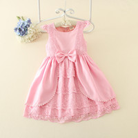 Beauty Princess One Piece Baby Girl Flower Dress Girl Party Dress Birthday Kids Children Frocks Dress Sleeveless