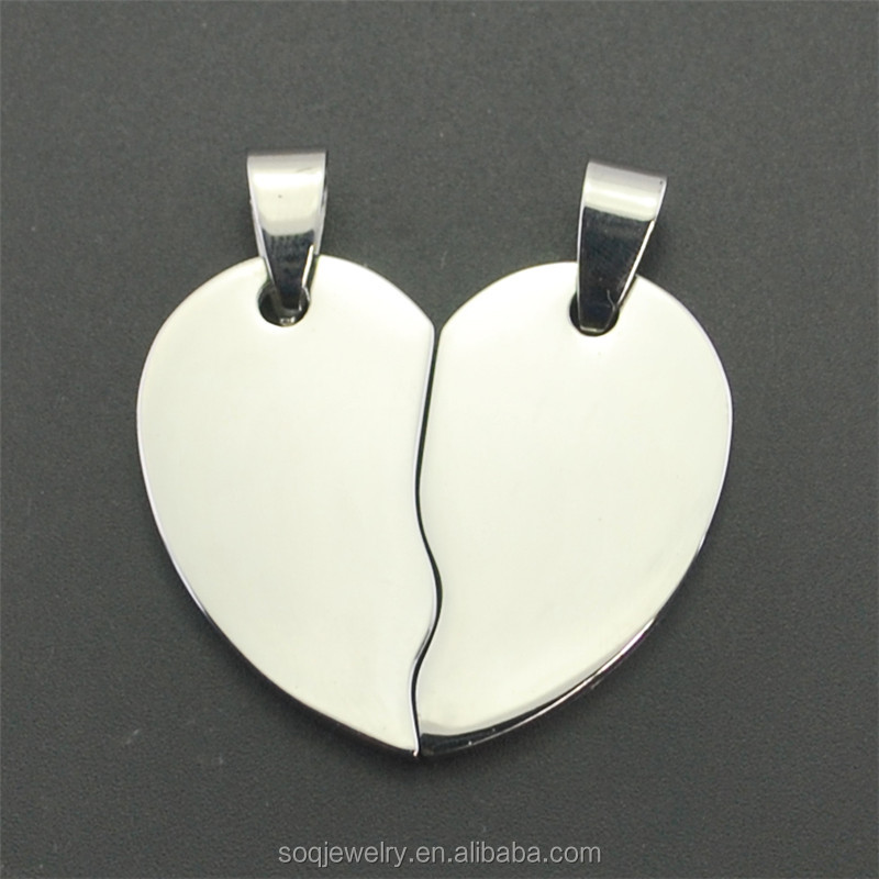 Simple Blank Stainless Steel Friendship Pendant for Engrave Unique Designs Jewelry