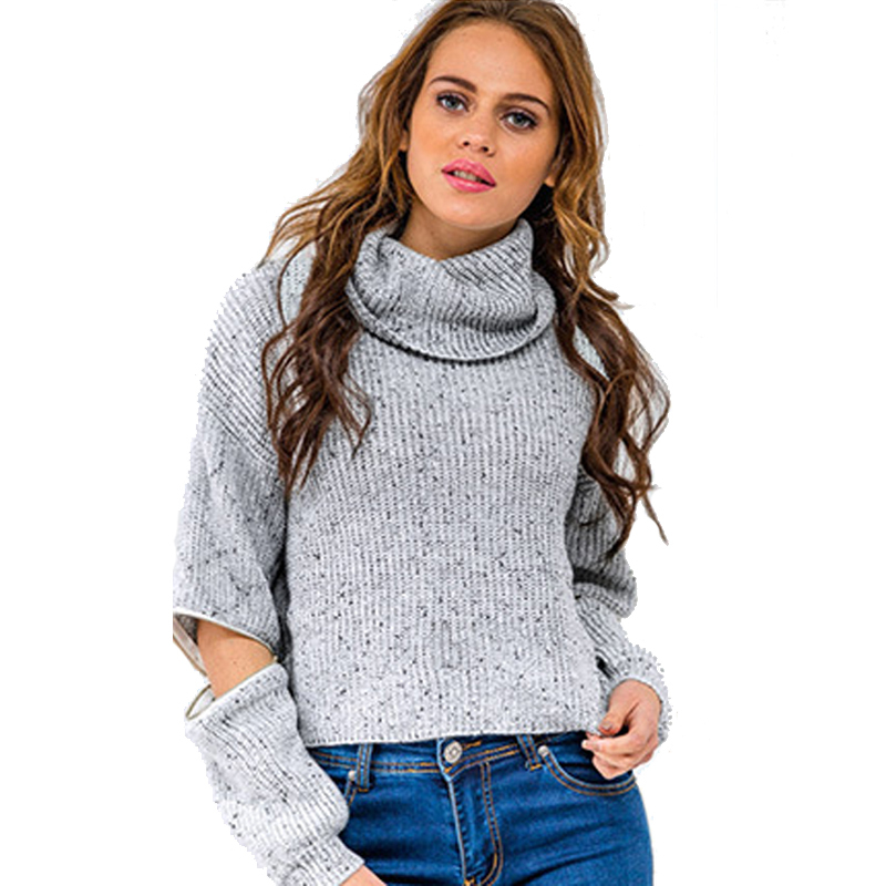 Women pullover autumn winter sweaters 2015 warm jumpers knitwear cardigan turtleneck plaid Tricot Sweater open zipper pull femme