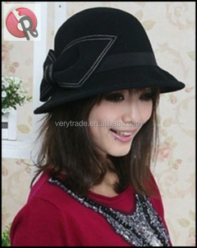 Estilo europeo clásico negro mujeres lana Fedora sombrero de fieltro Cloche  sombrero con bowknot 4ae27602478