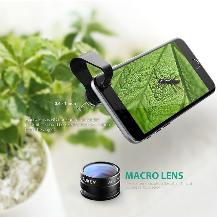 AUKEY Optic Lens 160 Fisheye Lens+20x Macro lens Mini Clip-on Cell Phone Camera Lenses Kit
