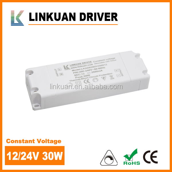 UL CE Triac dimmable smps constant voltage 100-240vac 30 Watts 2.5 amps led driver for home strip light