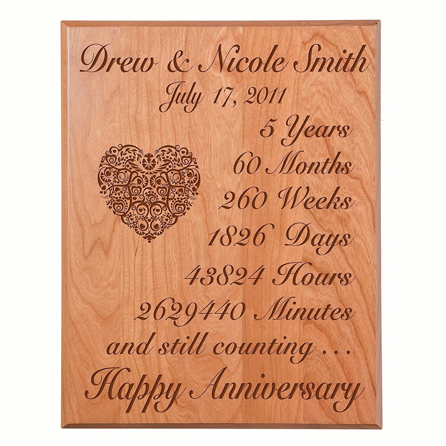 Personalized 5th Wedding Anniversary Wall Plaque Gifts for Couple Custom Made 5 year Anniversary gift ideas for Her,5th year Wedding Anniversary for Him By Dayspring Milestone (Solid Cherry Wood)