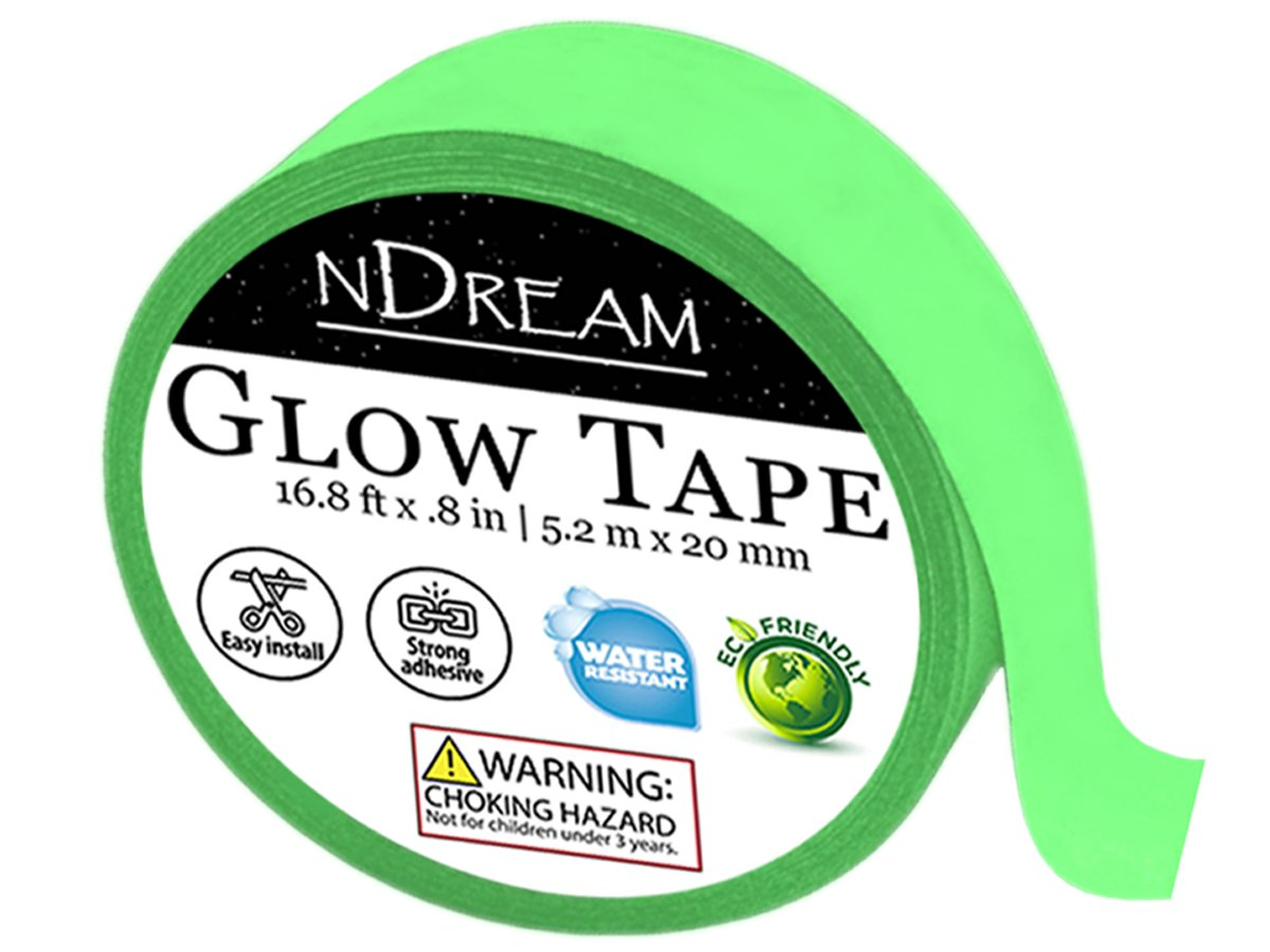 Glow in the Dark Tape by nDream – 1 Roll - 16.8 ft x .8 in, Bright Neon Green Luminous Party Stickers, Glow-In-The-Dark Paper or Paint Alternative, Waterproof, Sticks to Shirts and Fabrics