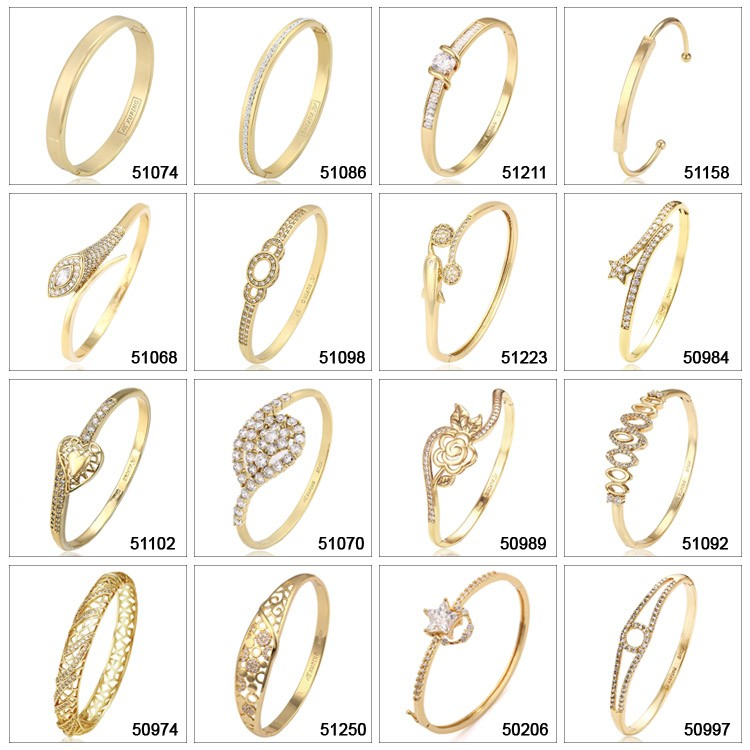 50974 xuping gold plated copper alloy hollow bracelets bangle with synthetic CZ models design