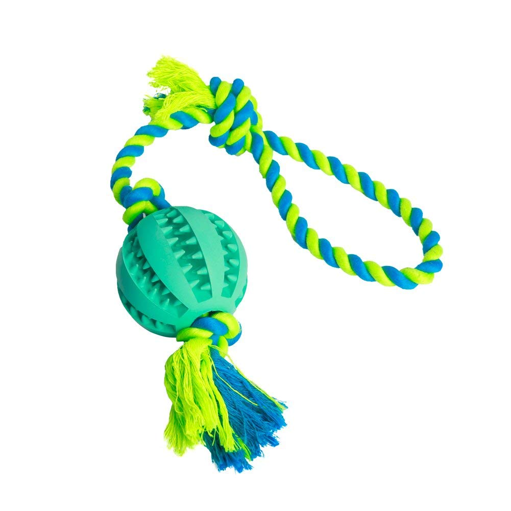 Puppollar Pet Dog Rope Toy with Ball Teeth Cleaning Toys Chew Ball with Rope