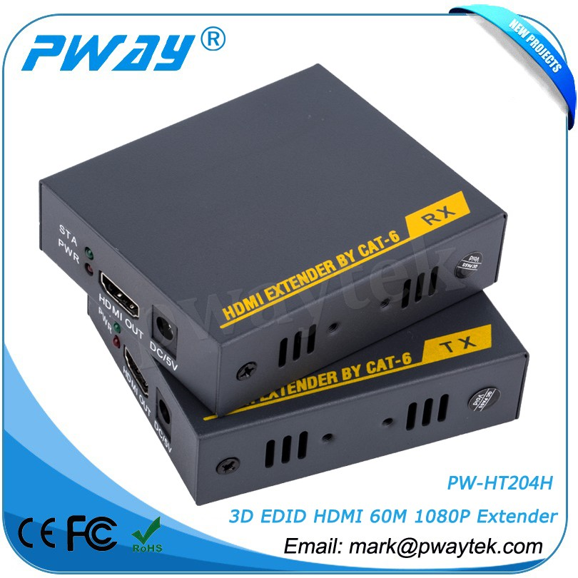 buy direct from china manufacturer Pinwei PW-HT204H 3D Study EDID 60m HDMI Extender With RJ45