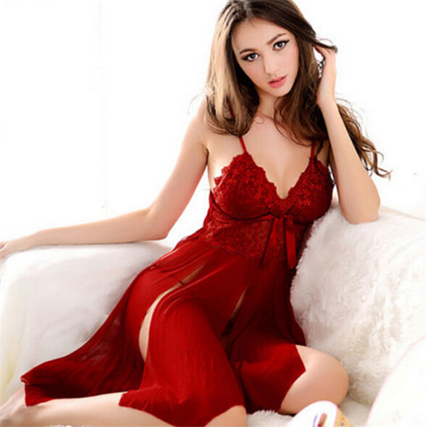 Women Babydoll Chemise Sleepwear Lace Dress G-string Hot Sexy Lingerie