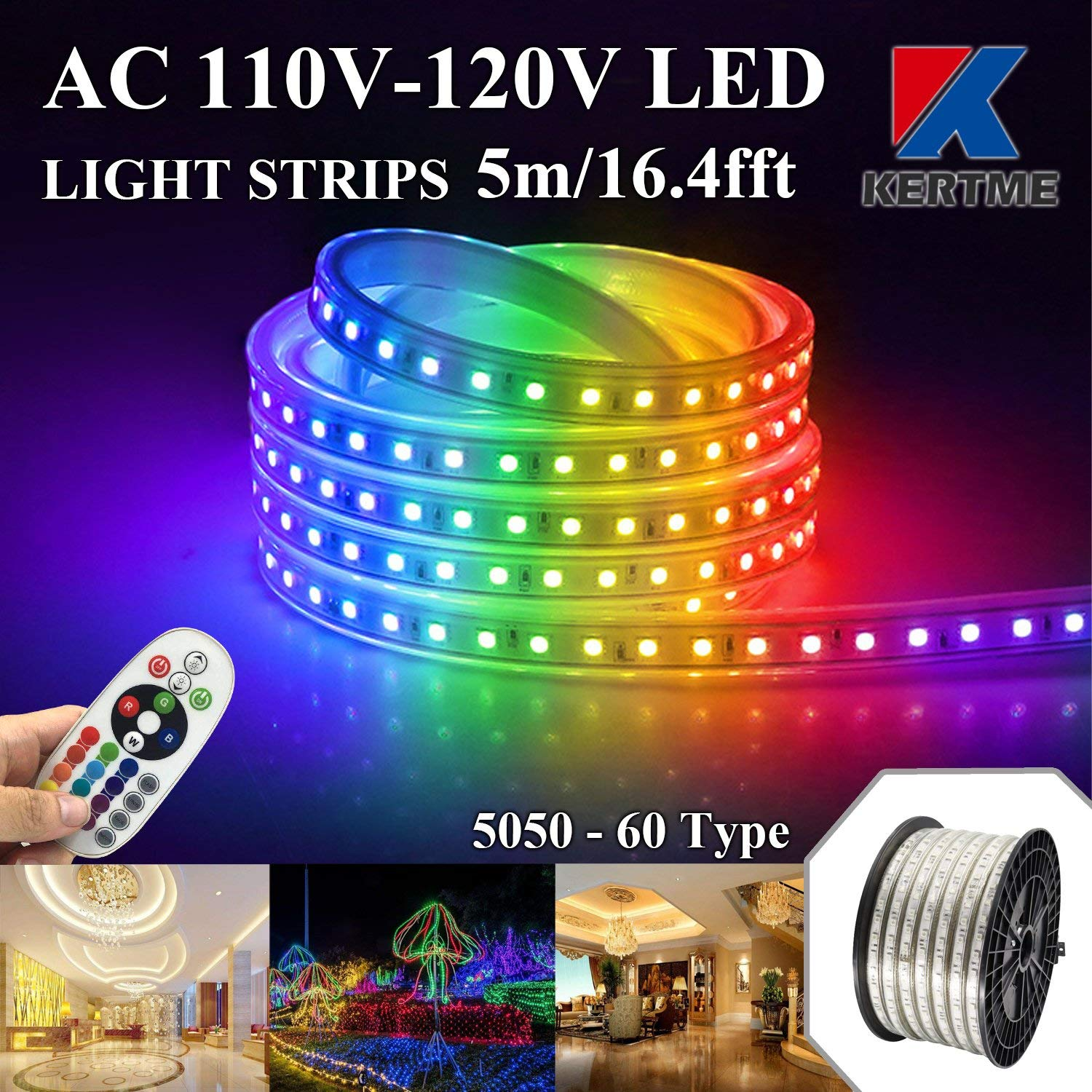 KERTME 5050-60 Type AC 110-120V RGB LED Strip Lights, Flexible/Waterproof/Dimmable/Multi-Colors/Multi-Modes LED Rope Light + 24 keys Remote for Home/Garden/Building Decoration (16.4ft/5m, RGB)