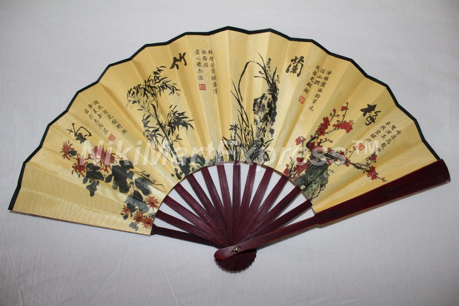 Buy Large Beautiful Chinese Eight Immortals Bamboo & Silk Hand ...