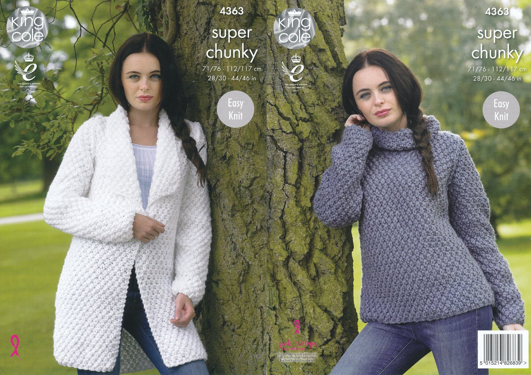 Easy Knit Round or Polo Neck Sweater Jacket Ladies Chunky Knitting Pattern 4598