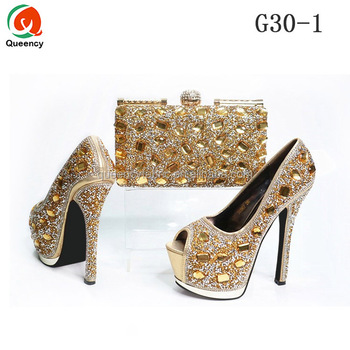 f256bbbfd2f G30 Queency Fashion African Evening Party Women Gold Dress Shoes and Bags  to Match