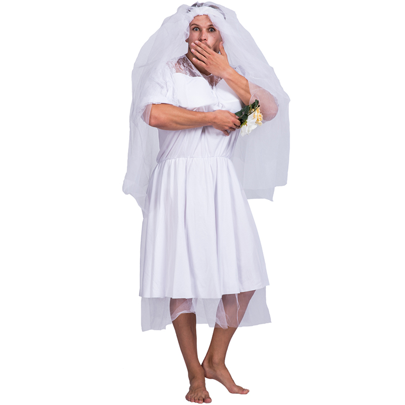 Adult Men Male Wedding Bride Funny Crossdresser Costume For Halloween Party Fancy Dress Buy Male Bride Costumecostume Crossdressersexy Man Funny