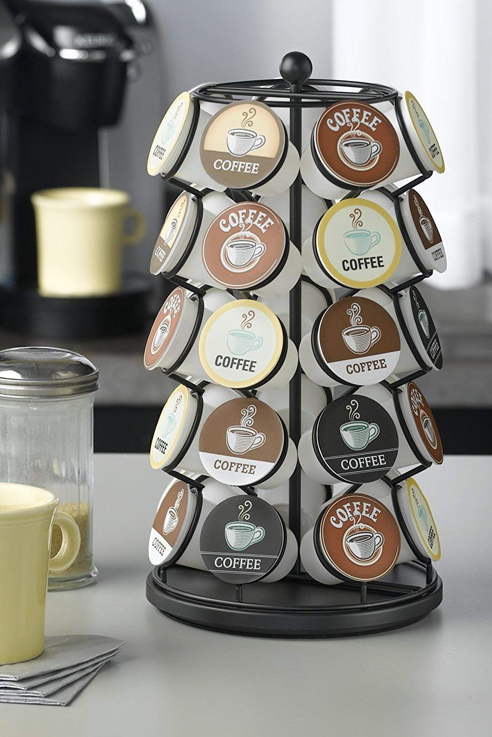 Get Quotations · K Cup Carousel 35 Coffee Pod Organizer Rotating Storage  Holder Black