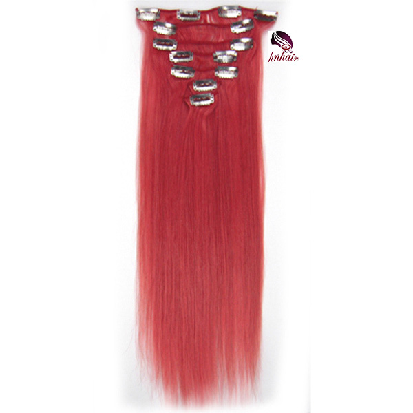 8A 100% human wet and wavy clip in hair extensions