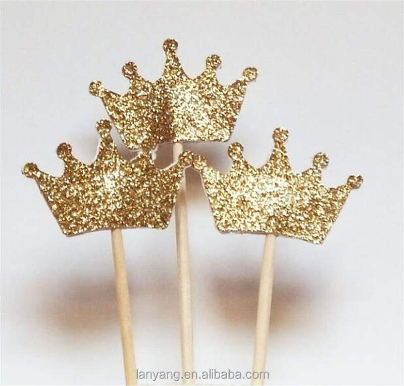 Glitter Crown Cupcake Toppers Royal Princess Party Custom Cake Decorations