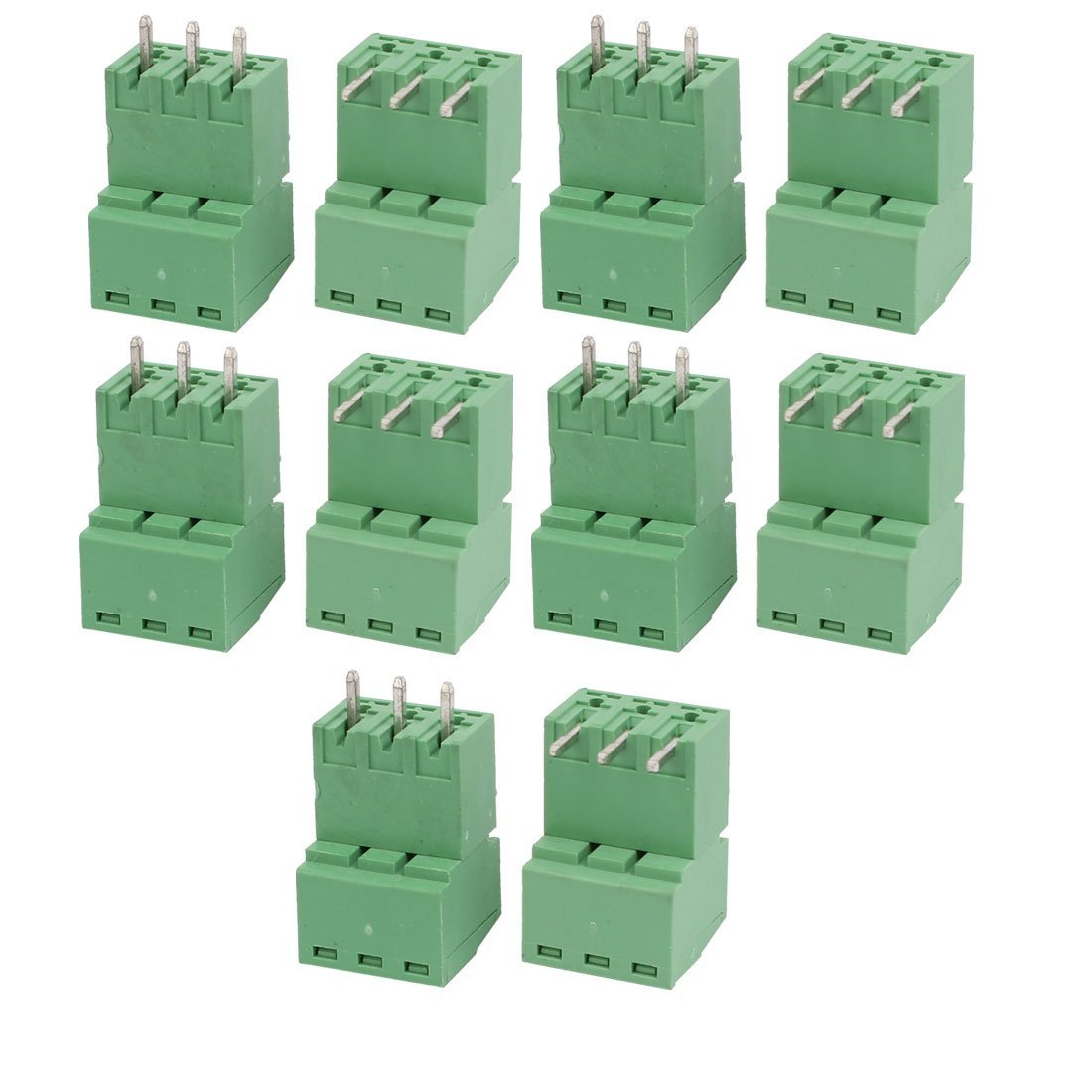uxcell 10Sets AC 300V 8A 3.81mm Pitch 3P PCB Terminal Block Female Male Wire Connector