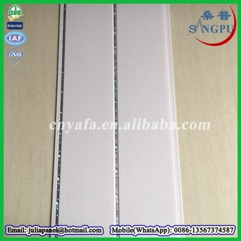 White Plastic Pvc Ceiling With Tough And Stripe Line Tongue Groove Panel