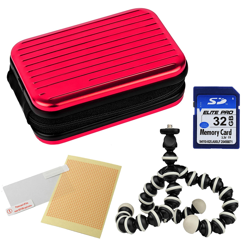 VanGoddy Pascal Metal Carrying Hard Case for Nikon Coolpix S2900 / S3700 / L32 / L31 / S6900 Digital Cameras + 32GB Memory Card + Mini Tripod + Screen Protector (Pink)