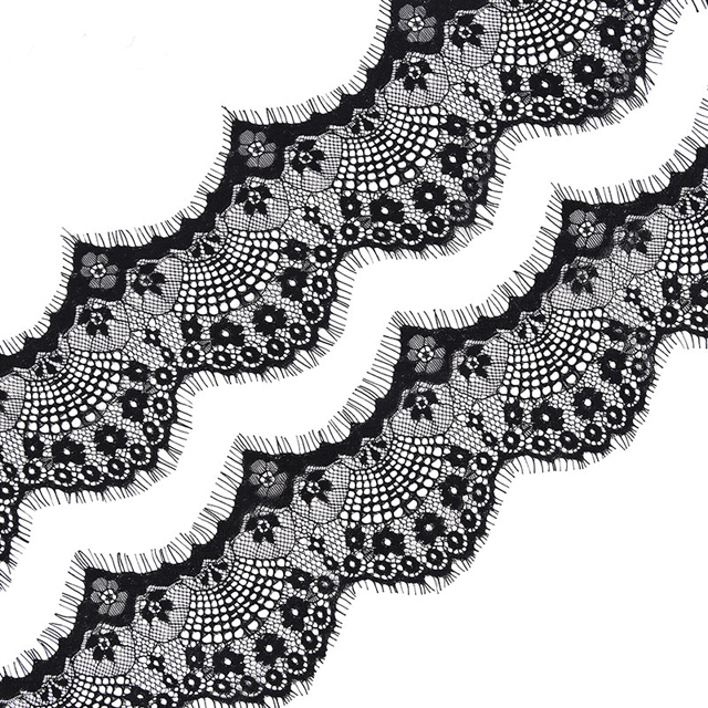 Smiry 3 Yards Eyelash Black Soft Floral French Lace Fabric Decoration Crafts Sewing Lace Trim Fabric For Dress Making Decoration