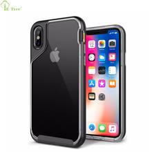 Stylish Clear Soft TPU Bumper Combo PC Frame Mobile Phone Cover Case For iPhone X