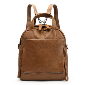 China New Soft Leather Women Simple Multiple Functional Antitheft Backpack School Bag