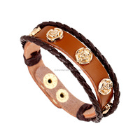 cheap pu braided leather bracelet with gold rose snap button narrow leather bracelet wholesale