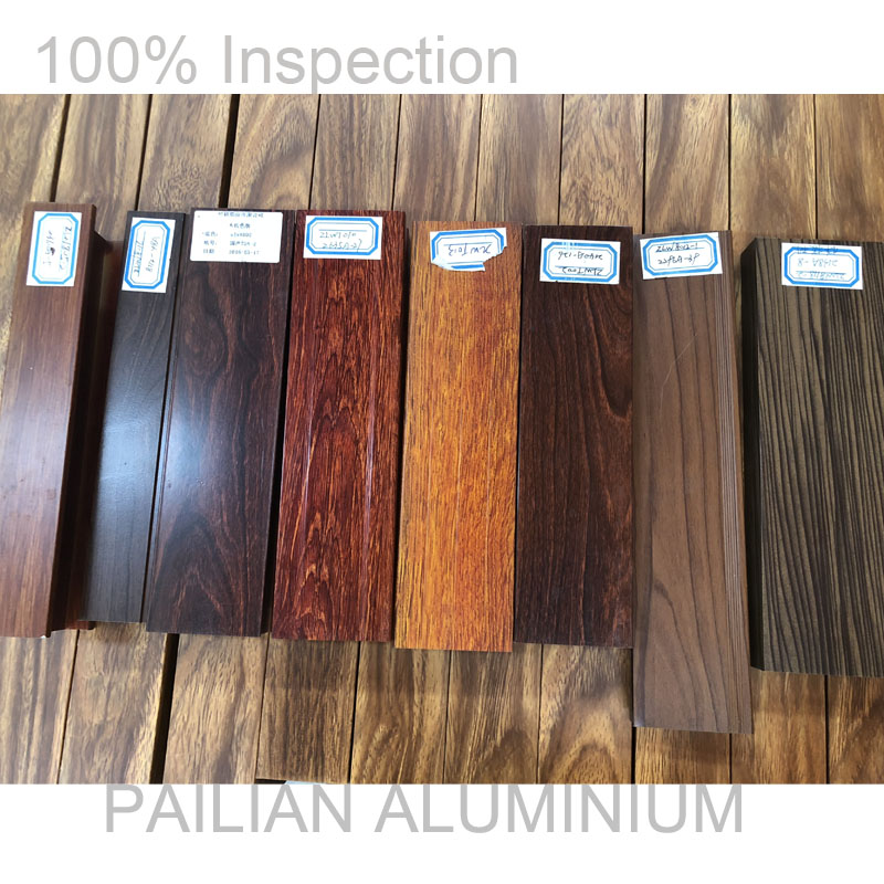 6063 t5  Wooden grain Coating standard size aluminium rectangular hollow section  for furniture decoration