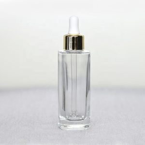 Square/rectangular 10 ml clear glass dropper bottle with different types caps for cosmetic