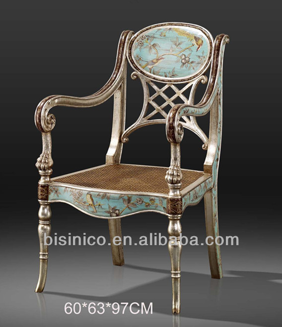 Graceful Wooden Backrest Chair With Floral Painting,Antique Treasure Single  Chair,Arm Chair With Hand Painted U0026 Carving   Buy Wooden Curved Dinning  Chair ...
