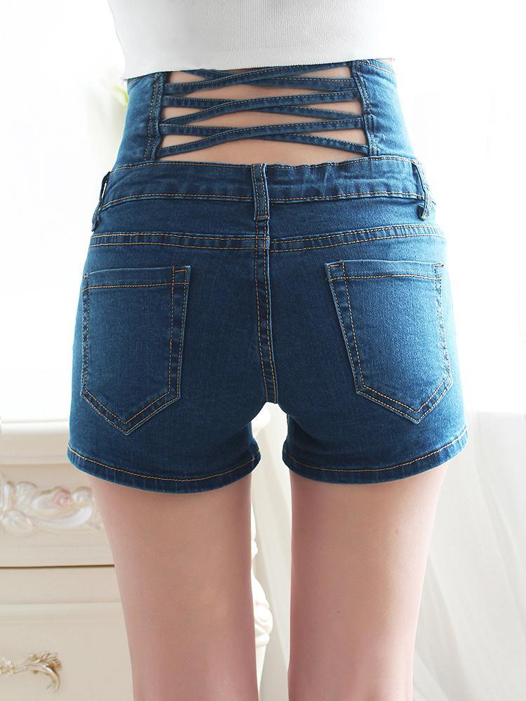 Ladies Denim Shorts With Elastic Waist The Else