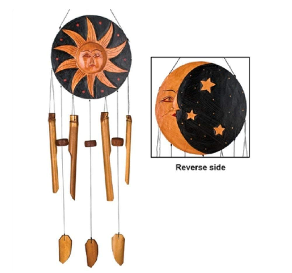 MyEasyShopping Celestial Sun and Moon Bamboo Wind Chime Outdoor Windchimes New Outdoor Windchimes Imports Weather Resistant Wood Windchime - Home Decoration